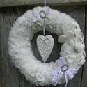 HÓfehér álom-VINTAGE-romantikus ajtódísz,koszorú.kopogtató,falidísz,kopogtató, Dekoráció, Otthon, lakberendezés, Dísz, Ünnepi dekoráció, Virágkötés, Újrahasznosított alapanyagból készült termékek, Vintage,romantikus stilus kedvelőknek.  Gyönyörű hófehér,egyszerű ,elegáns,egyedi így jellemezném a..., Meska