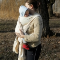 Keresztszemes hordozókendő újszülött kortól a hordozókor végéig, Baba-mama-gyerek, Magyar motívumokkal, Ruha, divat, cipő, Baba-mama kellék, Hímzés, Varrás, Hordozói tanácsadók által elfogadott termék.  5m hosszú, 69cm széles. Az anyag hosszába és keresztb..., Meska