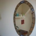 Falitükör, Otthon, lakberendezés, Képkeret, tükör, Kerámia, Mozaik, 55 x 76 cm átmérőjű ovális fali tükör 5 cm széles kerámia és tűzzománc mozaik kerettel. Színei: bar..., Meska