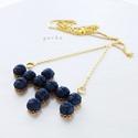 Kék és arany, Ékszer, óra, Nyaklánc, Medál, Kék színű viaszolt zsinegből készítettem a nyakláncot, arany színű kiegészítőkkel.... A ..., Meska