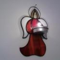 Angyal fali mécsestartó, Otthon, lakberendezés, Gyertya, mécses, gyertyatartó, Üvegművészet, Piros/fehér Spectrum üvegből, tiffany technikával készült falra akasztható mécsestartó. A mécsest d..., Meska