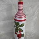 Tekert cseresznyés üveg, Férfiaknak, Decoupage, szalvétatechnika, A képen látható üveget szorosan len vagy pamut fonallal tekerem.A fonalat kétoldalú ragasztó csíkka..., Meska