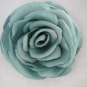 """Menta rózsa, Ruha, divat, cipő, Hajbavaló, Hajcsat, Varrás, Enyhén fénylő, \""""mentás\"""" kék rózsa a hajadba vagy ruhádra.Textilövön is mutatós!  Ez a darab az ak..., Meska"""