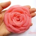 Lazacrózsaszín rózsa, Ruha, divat, cipő, Hajbavaló, Hajcsat, Varrás, Igazi nyári rózsa ez, amihez nem árt egy kis napsütötte barna színt szerezni. :)  Ha úgy tartja ked..., Meska