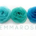 """Tengerkék rózsa -szett(3db), Ruha, divat, cipő, Esküvő, Hajbavaló, Varrás, Ezúttal 3db egymással harmonizáló, mégis eltérő színű rózsát válogattam """"egy csokorba"""" - türkizes é..., Meska"""
