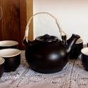 Távol-kelet, Konyhafelszerelés, Bögre, csésze, Kancsó , Kerámia, A Távol-kelet hangulatát idéző teás készlet. Belül fehér fényes, kívül fekete ófémes hatású egészsé..., Meska