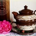 Reggeliző készlet, Konyhafelszerelés, Bögre, csésze, Kancsó , Kerámia, Három az egyben reggeliző készlet helytakarékos, hiszen a kistányért, a csészét és a teáskannát egy..., Meska