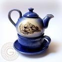 Teázás farkassal, Konyhafelszerelés, Bögre, csésze, Kancsó , Kerámia, Ez az egyszemélyes teáskészlet remek ajándék, hisz bármely szerettünket meglephetjük vele korra, ne..., Meska