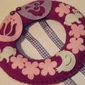 Lila-rózsaszín húsvéti ajtódísz, Dekoráció, Otthon, lakberendezés, Ünnepi dekoráció, Húsvéti apróságok, Varrás, Nagyon szeretem ezt a kis koszorút készíteni, ezúttal lilás-rózsaszínes stílusban született ez a  h..., Meska