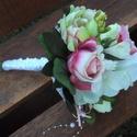 Paeonia,frézia,rózsa csokor, Dekoráció, Esküvő, Virágkötés, Ezt a tartós kis csokrot ajánlom névnapra,születésnapra,esküvőre.Finom színeivel megörvendezteti a ..., Meska