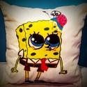 Gigush Design Sponge Bobos díszpárna, Otthon, lakberendezés, Dekoráció, Lakástextil, Párna, Varrás, Festett tárgyak, Spongebob Kockanadrág alapvetően egy cuki figura, de ezt még igyekeztem kicsit felturbózni. Akik sz..., Meska
