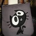 Egyedi cicás táska, Táska, Válltáska, oldaltáska, Vatelinnel bélelt cicás táska mindennapi használatra Mérete 34x38 cm tetején cipzáras Pánt hossza ál..., Meska