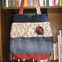 Egyedi farmer táska, Táska, Válltáska, oldaltáska, Farmer és 100% pamutvászon felhasználásával készült női táska magassága 42 cm,szélessége 34-50 cm Pá..., Meska