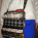 Szőrmés farmer táska, Táska, Válltáska, oldaltáska, Műszőrme,farmer,kordbársony és pamutvászon felhasználásával készült táska Mérete 30x34 cm,pánt hossz..., Meska