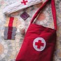 Játék orvosi táska - 10 részes elsősegély szett, Játék, Társasjáték, Varrás, Tíz darabból álló elsősegély szett 3 éven felüli gyermekeknek Sebtapasz hossza 6 cm,táska mérete 18..., Meska
