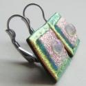 Katie - fusing üveg fülbevaló, Ékszer, óra, Fülbevaló, Ékszerkészítés, Üvegművészet, Nagyon szép barack és rózsaszín üvegekből készítettem, egy kis átlátszó csepp emeli ki a színek fin..., Meska
