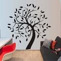 Fa levelekkel, falmatrica, Dekoráció, Képzőművészet, Otthon, lakberendezés, Falmatrica, Fotó, grafika, rajz, illusztráció, Fa levelekkel falmatrica, egyszerűen megrajzolt, mégis látványos dekoráció lehet bármelyik szobában..., Meska
