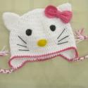 Hello! :) - Kitty sapka horgolva, Ruha, divat, cipő, Kendő, sál, sapka, kesztyű, Sapka, Horgolás, Varrás, Vastag, meleg fehér fonalból horgoltam ezt cica sapkát a híres Kittyről mintázva 3-5 éves korú kisl..., Meska