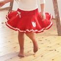 PÖRGŐS kord szoknya, 74-164-es, piros, lány, pamut  csipke díszítéssel 86-104, Ruha, divat, cipő, Gyerekruha, Gyerek (4-10 év), Baba (0-1év), Varrás, Hímzés, A piros, pörgős, lány kordbársony szoknya anyaga bőrbarát: 95 % pamut, 5 % elasztán (ez utóbbitól v..., Meska