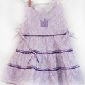 Lila-vajszínű 62-104 apró virágos nyári ruha  , Ruha, divat, cipő, Gyerekruha, Gyerek (4-10 év), Baba (0-1év), Varrás, Hímzés, A lila-vaj színű apróvirágos nyári pamut ruhánk romantikus stílusa magával ragadó. A szaténszalagga..., Meska