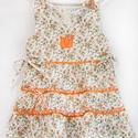 Narancs-vajszínű 110-140-es apróvirágos nyári ruha, Ruha, divat, cipő, Gyerekruha, Gyerek (4-10 év), Baba (0-1év), Varrás, Hímzés, A narancs-vaj színű apróvirágos nyári pamut ruhánk romantikus stílusa magával ragadó. A szaténszala..., Meska
