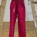 PASSZÉS derekú, kényelmes kord nadrág, 110-164-es, sötét rózsaszín, lány, rózsaszín virág hímzéssel , Ruha, divat, cipő, Gyerekruha, Kamasz (10-14 év), Gyerek (4-10 év), Varrás, Hímzés, A lány kordbársony nadrágunk anyaga bőrbarát: 95% pamut, 5% elasztán ( ez utóbbitól válik sztreccsé..., Meska