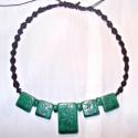 Maya nyaklánc, Ékszer, óra, Nyaklánc, Medál, Kerámia, Csomózás, Kerámia nyaklánc, makramé csomózással. A legnagyobb medál 2,5x4cm a többi 2x2cm. A nyaklánc legrövid..., Meska