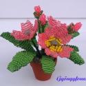 Primula piros színben cserepes virág , Dekoráció, Otthon, lakberendezés, Dísz, Gyöngyfűzés, Virágkötés, A virágot 3,5 cm átmérőjű cserépbe készítettem, magassága  a cseréppel együtt kb. 9 cm. Legszéleseb..., Meska
