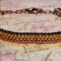 Árnyalatok arany, Ékszer, óra, Karkötő, Gyöngyfűzés, Japán apró kása gyöngyből peyote technikával készítettem a karkötőt. Szélessége 0,5 cm, a fűzött ré..., Meska