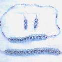 Akció! Kék ragyogás : Ékszerszett, Nyaklánc, Karkötő, Fülbevaló, Ékszer, óra, Ékszerszett, Nyaklánc, Karkötő, Gyöngyfűzés, Elegáns, és nagyon szép, csillogó ékszerszettet kínálok eladásra: Egysoros nyaklánc, középen kiszél..., Meska