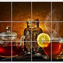Tea citrommal Csempe mozaikkép, Dekoráció, Képzőművészet , Konyhafelszerelés, Kép, Kerámia, Csempe kép. 12 db 10x10 cm minőségi csempe lapok felületébe égetem 200 C°-on a mozaikszerűen felosz..., Meska