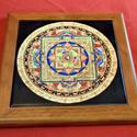 Mandala csempelap 02, Dekoráció, Esküvő, Képzőművészet , Kerámia, 15x15 cm csempelapra 200°C égetett mandala kép, fa keretben. Asztalra fektetve, állítva vagy falra ..., Meska