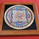Mandala csempelap 03, Dekoráció, Esküvő, Képzőművészet , Kerámia, 15x15 cm csempelapra 200°C égetett mandala kép, fa keretben. Asztalra fektetve, állítva vagy falra ..., Meska