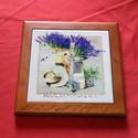 Provence asztaldísz, Dekoráció, Esküvő, Képzőművészet , Kerámia, Provence asztaldísz. 15x15 cm kerámiára 200°C fokon égetve, teljes méret 19,5x19,5 cm ára: 2900,- Ft, Meska