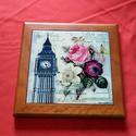 London asztaldísz, Dekoráció, Esküvő, Képzőművészet , Kerámia, London asztaldísz. 15x15 cm kerámiára 200°C fokon égetve, teljes méret 19,5x19,5 cm ára: 2900,- Ft, Meska