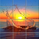 Csep a tengerben, Dekoráció, Képzőművészet , Kép, Vegyes technika, Festészet, 12 db 108x108 mm minőségi csempe lapok felületébe égetem a mozaikszerűen felosztott képet ami így i..., Meska