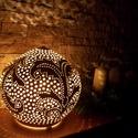 """Kerámia éjjeli lámpa, hangulat fény gömb formájú, Otthon, lakberendezés, Lámpa, Asztali lámpa, Hangulatlámpa, Kerámia, ,LÁMPA AMI HANGULATOT TEREMT""""21 cm magas 24 cm átmérőjű natúr fehér agyagból kézi korongozással és ..., Meska"""