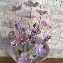 Szépség,Elegancia Kerámia Virágok Vázával, Otthon, lakberendezés, Kaspó, virágtartó, váza, korsó, cserép, Kerámia, Kézzel készített egyedi mázas kerámia virágok szintén egyedi korongozott vázában. Ez a  kézműves vi..., Meska