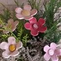 Fehér és Rózsaszínű  Színű Mázas Kerámia Virágok, Otthon, lakberendezés, Dekoráció, Kerti dísz, Kaspó, virágtartó, váza, korsó, cserép, Kerámia, Szedj egy csokrot a virágos kertemből!Egész évben díszítheti lakásodat.Vagy tűzheted a szobanövénye..., Meska