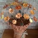 Mezei Hangulatú  Kerámia Virágok Vázával, Otthon, lakberendezés, Kaspó, virágtartó, váza, korsó, cserép, Kerámia, Agyagból kézi munkával készített mázas kerámia virágok festett drótszáron.A váza szintén kézi munká..., Meska
