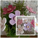 5 db nagy  Fehér és Rózsaszínű  Színű Mázas Kerámia Virágok, Otthon, lakberendezés, Dekoráció, Kerti dísz, Kaspó, virágtartó, váza, korsó, cserép, Kerámia, Virágkötés, Szedj egy csokrot a virágos kertemből!Állítsd össze a saját csokrod! Tedd kosárba valamelyik összeá..., Meska