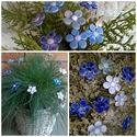 10 db Kis Kék  Mázas Kerámia Virág, Esküvő, Otthon, lakberendezés, Dekoráció, Esküvői dekoráció, Kerámia, Virágkötés, Szedj egy csokrot a virágos kertemből!Állítsd össze a saját csokrod! Tedd kosárba valamelyik összeá..., Meska