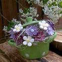 Akciós! Anyák Napi Kerámia Virág Kompozíció, Dekoráció, Otthon, lakberendezés, Dísz, Kaspó, virágtartó, váza, korsó, cserép, Kerámia, Virágkötés, Anyának ! Mert olyan finomakat főz! Egy kis lábas ami hálából tele-tele kedves kerámia virágokkal ,..., Meska