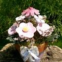 Rózsaszín Kerámia Virágok Pöttyös Virág Cserépben, Otthon, lakberendezés, Kaspó, virágtartó, váza, korsó, cserép, Kerámia, Virágkötés, Névnapra,születésnapra ,kedveskedő napra saját magamnak vagy bárkinek aki megérdemli.!Kézzel készít..., Meska