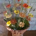 """,Virágos Réten Sétálva """" Kerámia Virágok Vázával, Otthon, lakberendezés, Kaspó, virágtartó, váza, korsó, cserép, Kerámia, Virágkötés, Ha szeretnél egy  természetes  hatású de tartós igazán eredeti csokrot !Akkor ezek a kis kézműves v..., Meska"""