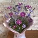 """,Szépség,Elegancia"""" Kerámia Virágok Vázával, Otthon, lakberendezés, Kaspó, virágtartó, váza, korsó, cserép, Kerámia, Virágkötés, Igazi Ékszer  Csokor!Kézzel készített egyedi mázas kerámia virágok szintén egyedi korongozott vázáb..., Meska"""