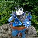 AKCIÓS! Kerámia Virágok Virágcserépben, Otthon, lakberendezés, Kaspó, virágtartó, váza, korsó, cserép, Kerámia, Virágkötés, Kézzel készített mázas kerámia virágok festett drót száron ,terrakotta virág cserépben némi száraz ..., Meska