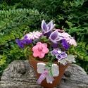 AKCIÓS ! Kerámia Virágok Virágcserépben, Otthon, lakberendezés, Kaspó, virágtartó, váza, korsó, cserép, Kerámia, Virágkötés, Kézzel készített mázas kerámia virágok festett drót száron ,terrakotta virág cserépben némi száraz ..., Meska