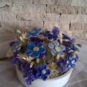 Kék Színei Kerámia Virágok  Kaspóban, Otthon, lakberendezés, Kaspó, virágtartó, váza, korsó, cserép, Kerámia, Virágkötés, Kézzel készített mázas kerámia virágok  festett drót száron , mázas kaspóban.Szárított  növényekkel..., Meska