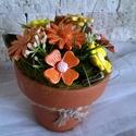 Kerámia Virágok Sárga SzÍnekben , Otthon, lakberendezés, Dekoráció, Kaspó, virágtartó, váza, korsó, cserép, Kerámia, Virágkötés, Fehér agyagból aprólékos kézi munkával készült mázas kerámia virágok festett drót száron.A kis kézm..., Meska